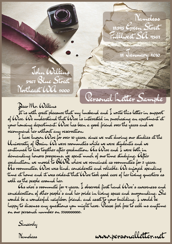 sample personal letter