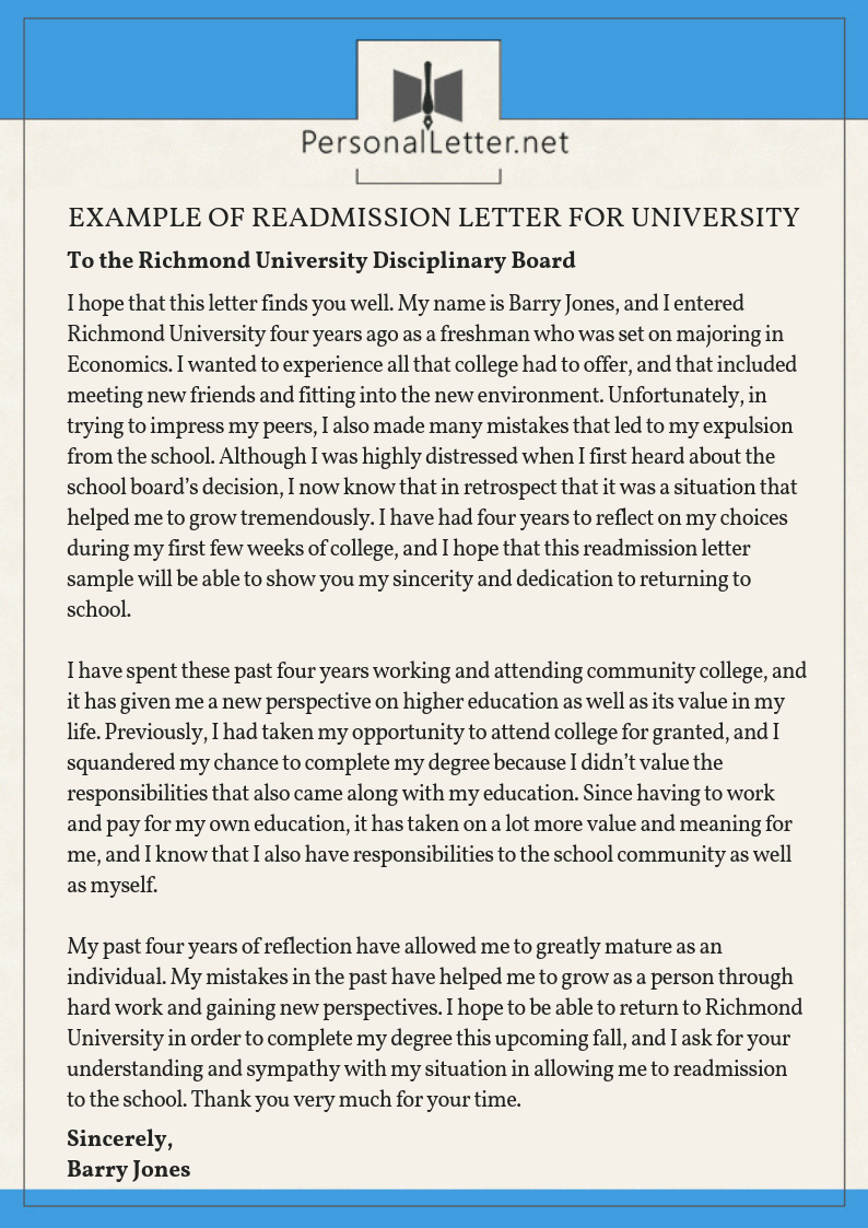 Medical Withdrawal From College Letter Sample from www.personalletter.net