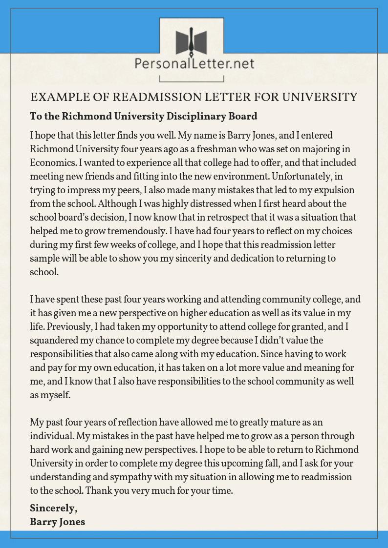 Sample Academic Dismissal Appeal Letter from www.personalletter.net