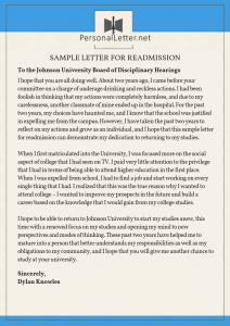 sample letter for readmission