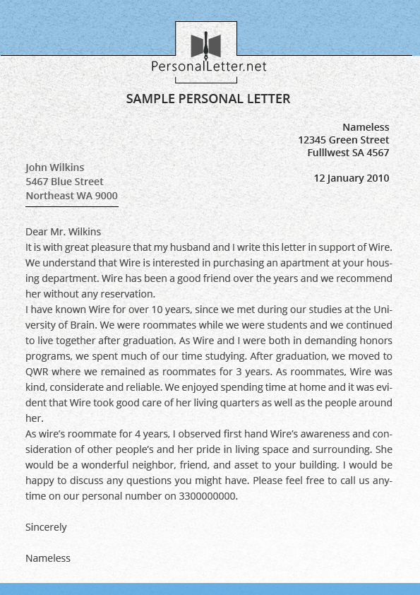 Personal Reference Letter Example from www.personalletter.net