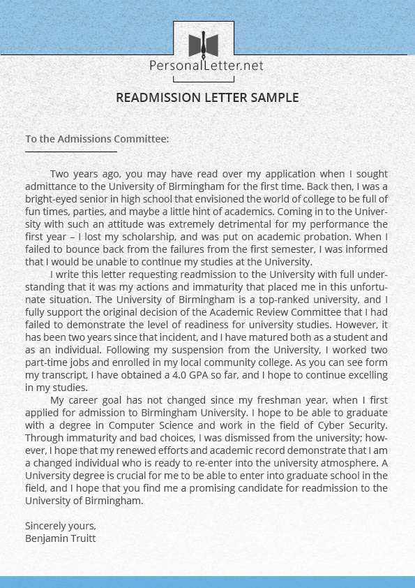 How To Write A Readmission Letter To University Personal Letter