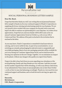 social personal business letter sample