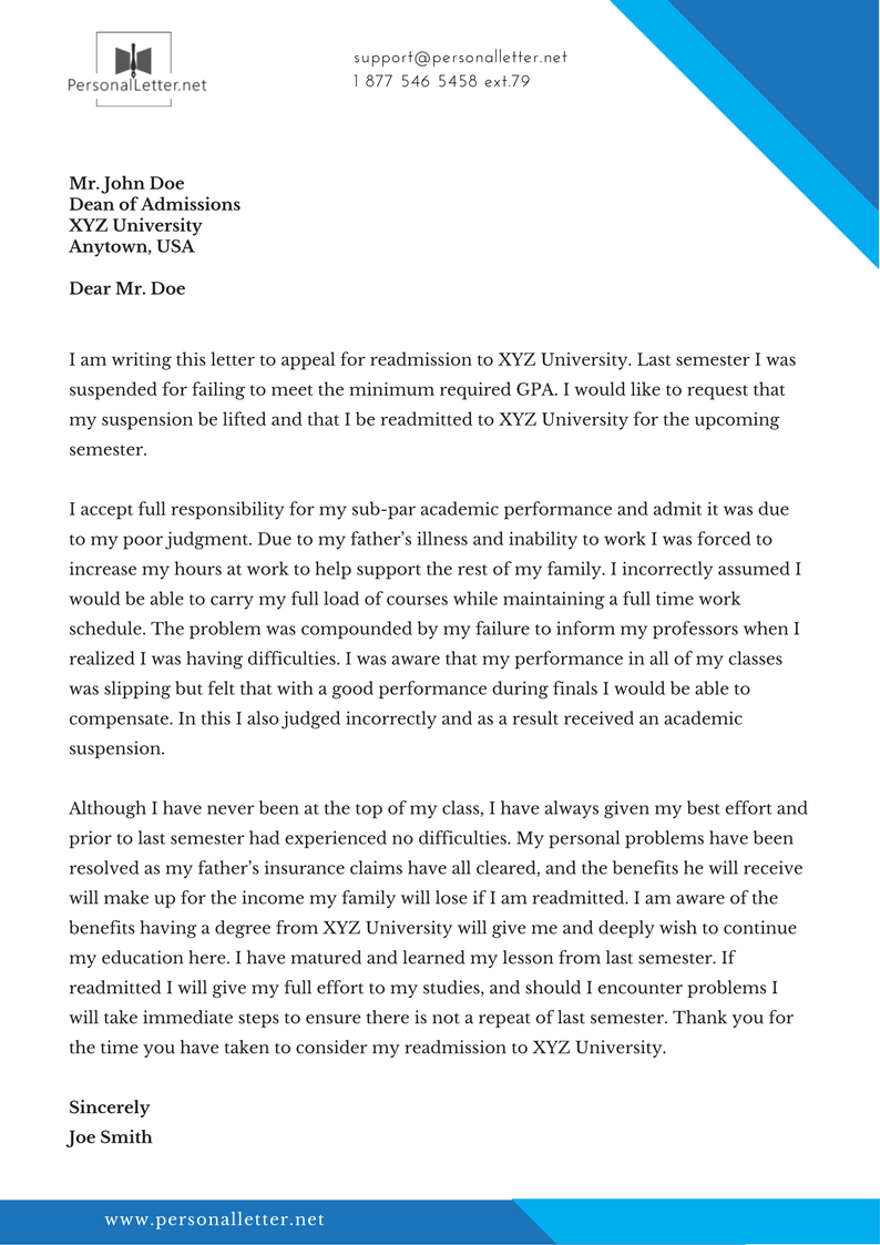 Professional Readmission Letter Sample | Personal Letter