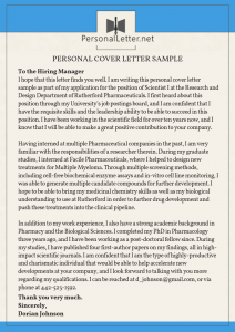 personal cover letter sample