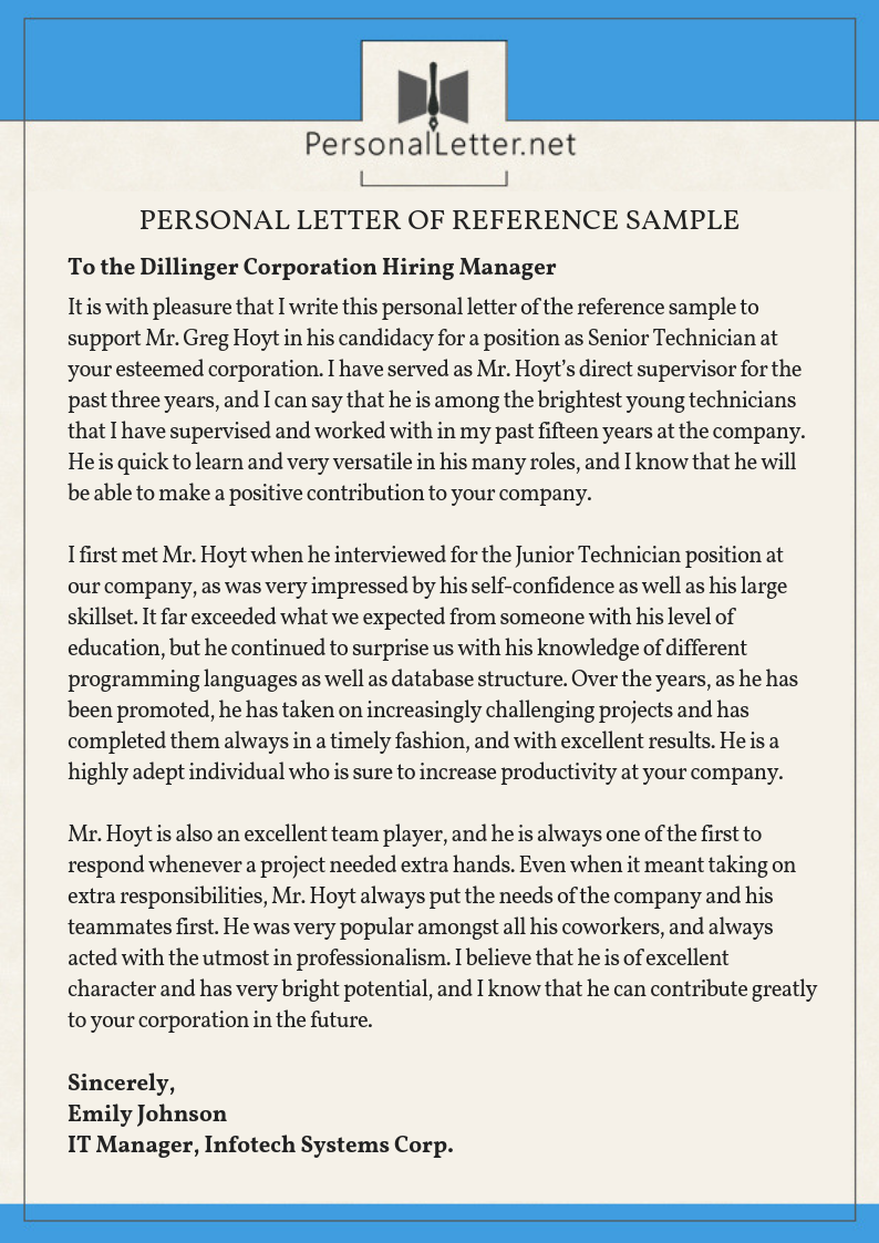 Personal Letter Of Reference Sample from www.personalletter.net
