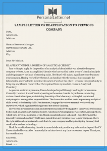 professional sample letter of reapplication to previous company