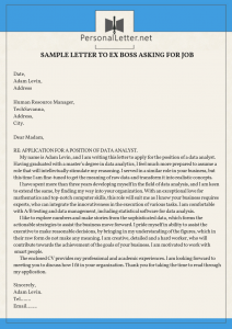 professional sample letter to ex boss asking for job