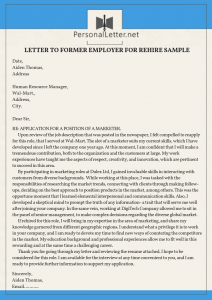 winning letter to former employer for rehire sample