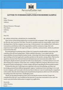 winning letter to former employer for rehire sample
