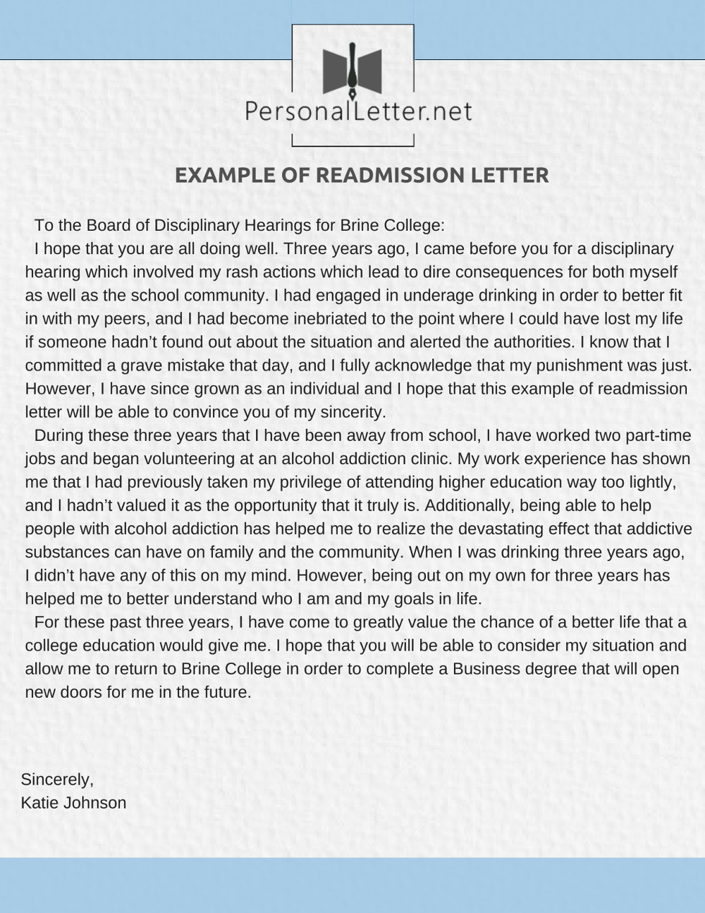 Expert Readmission Letter Writing Services   Personal Letter