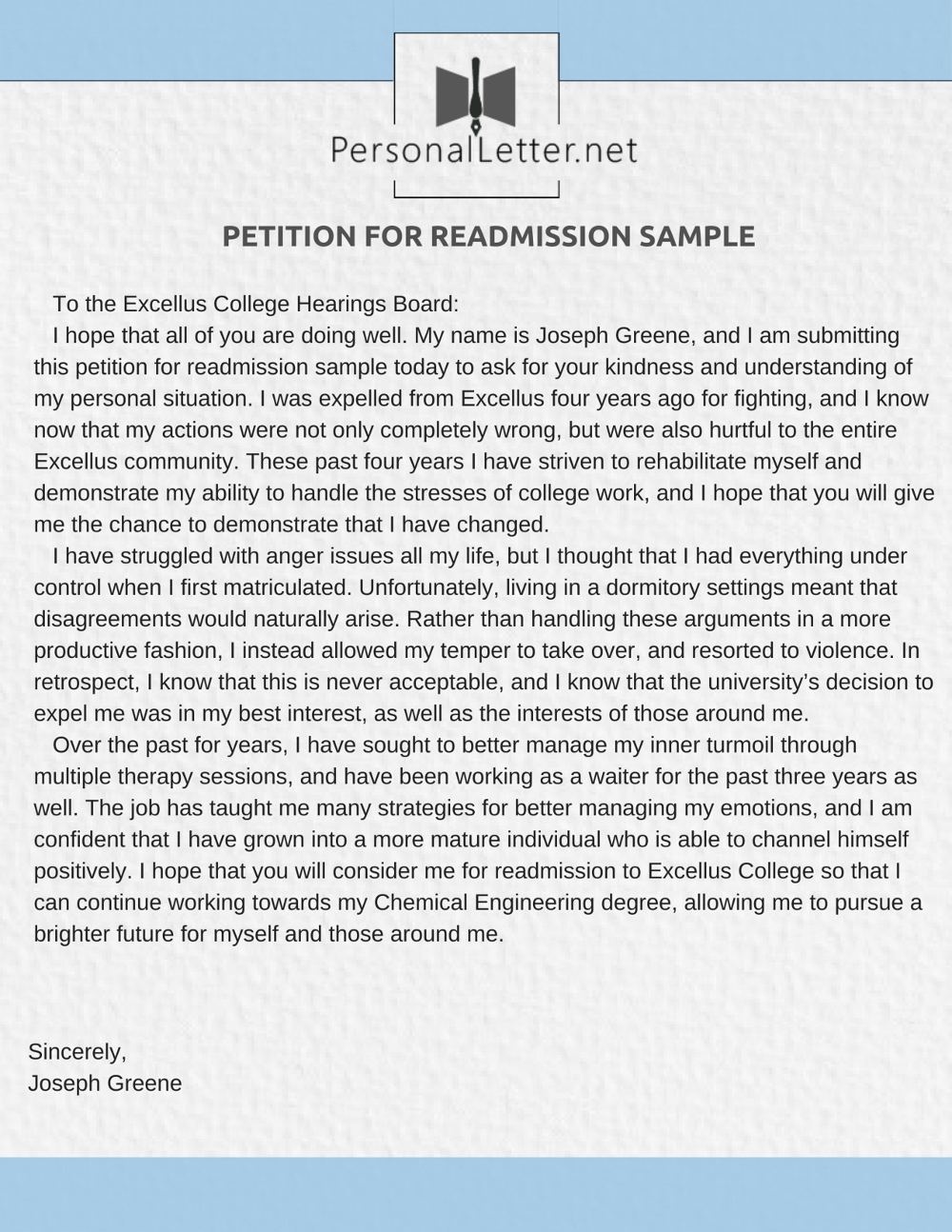 petition for readmission sample letter