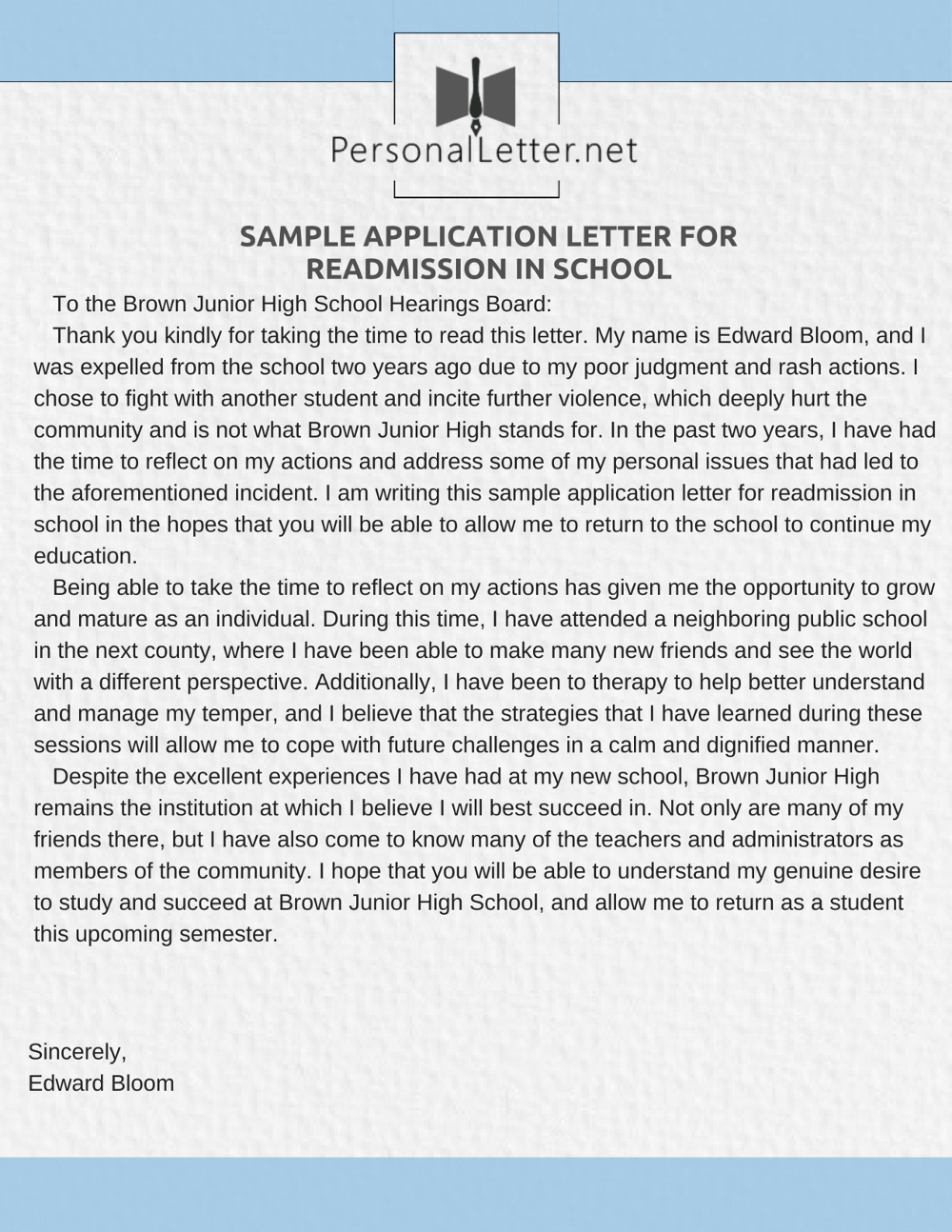 Application Letter For Readmission In School Expert Help