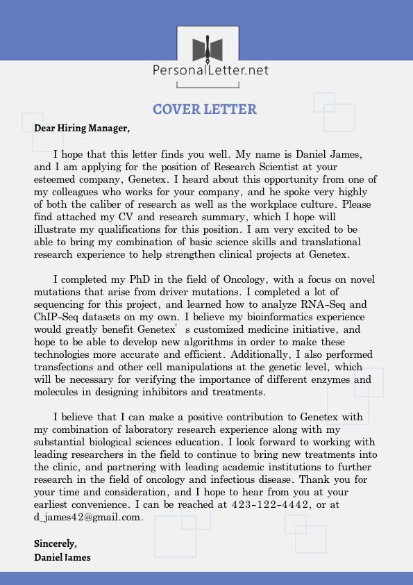 effective personal cover letter sample