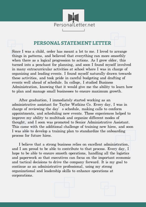 exceptional personal statement letter example