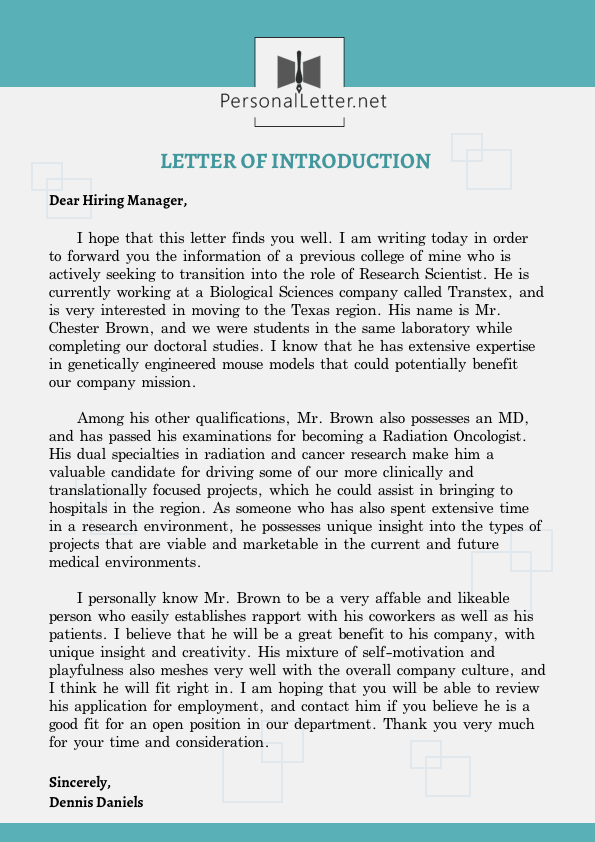 exceptional sample personal introduction letter